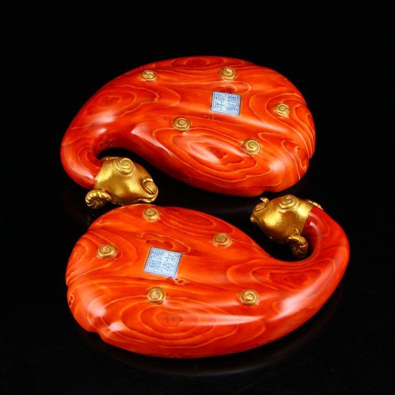 Pair Gilt Gold Famille Rose Porcelain Brush Washers - 5