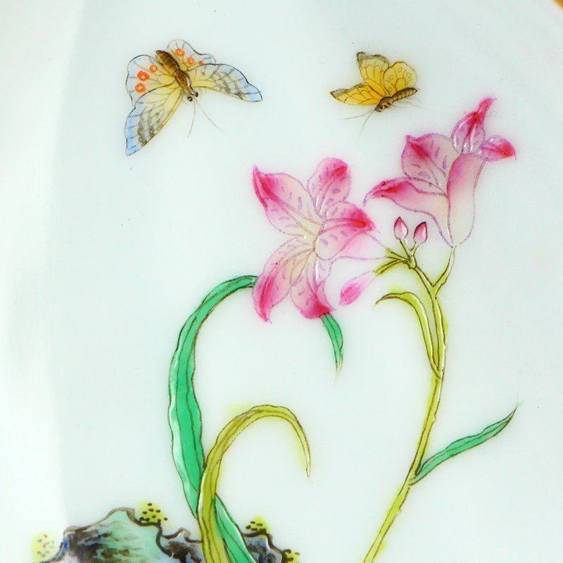 Pair Gilt Gold Famille Rose Porcelain Brush Washers - 8