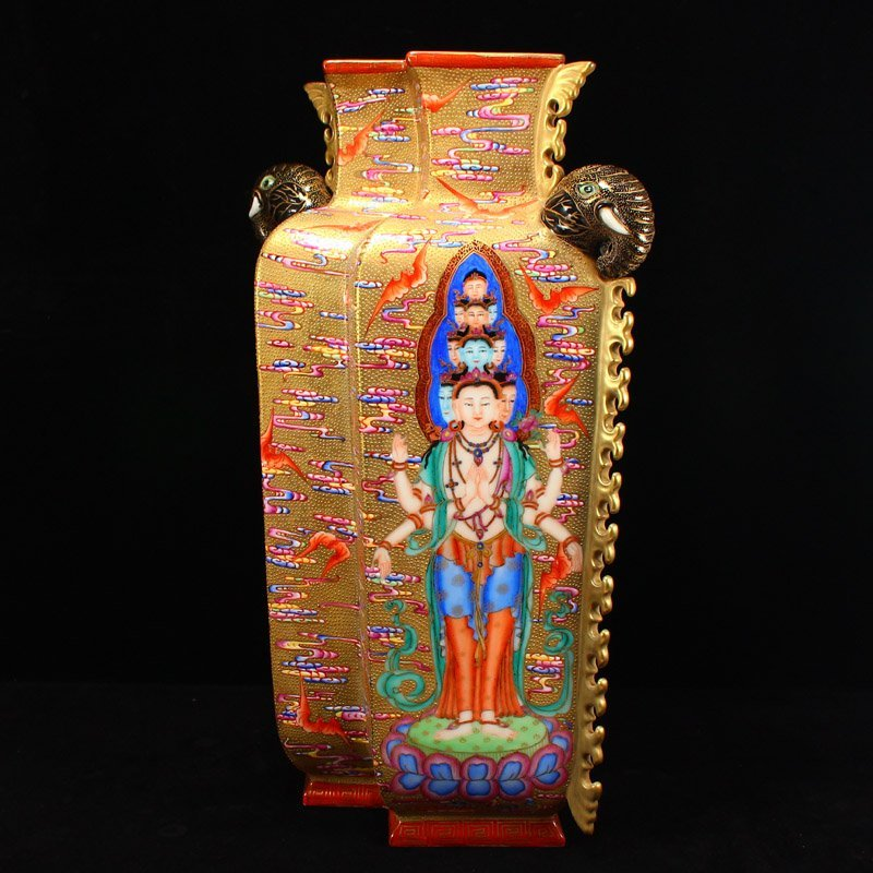 Chinese Qing Dy Gilt Gold Famille Rose Porcelain Vase - 3