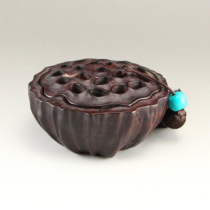 Vintage Chinese Zitan Wood Lotus Pod Incense Burner