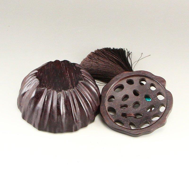 Vintage Chinese Zitan Wood Lotus Pod Incense Burner - 6