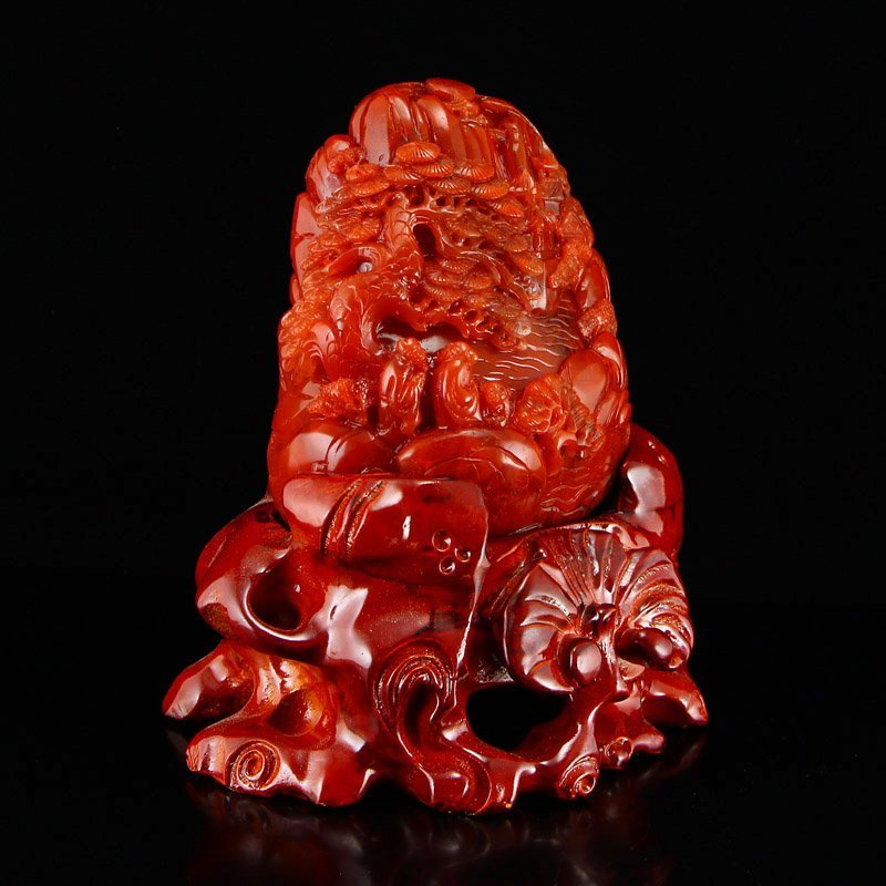 Chinese Nan Hong Agate Statue - Sages & Pine Tree - 3