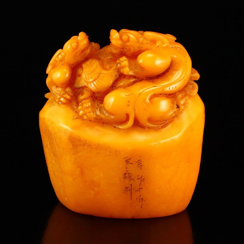Chinese Shoushan Stone Tianhuang Stone Seal Statue