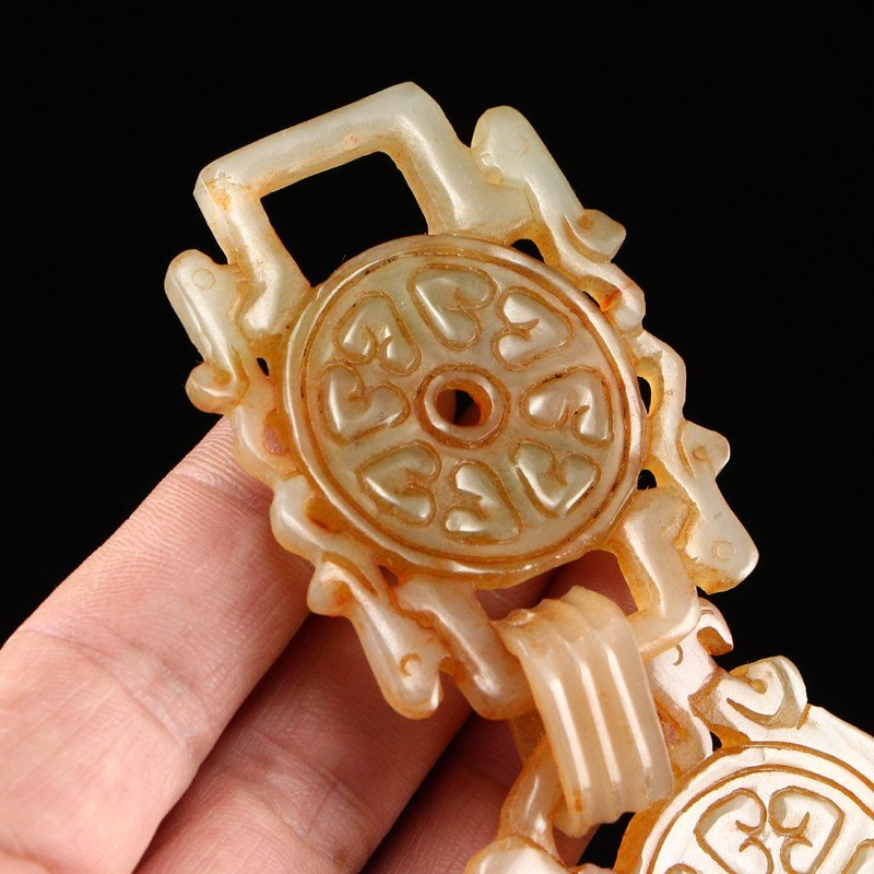 Vintage Hetian Jade Waistband Carved By One Piece Jade - 8
