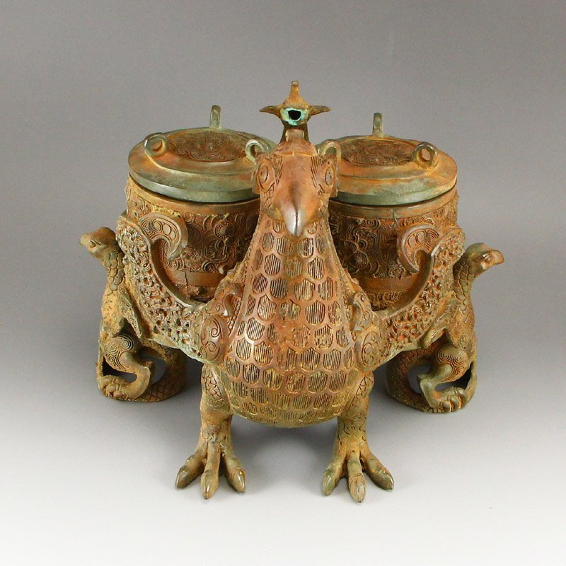 Vintage Chinese Bronze Phoenix Head Incense Burner