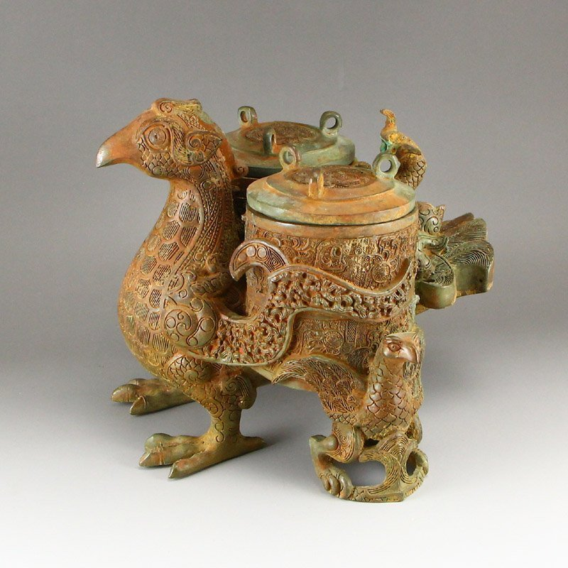 Vintage Chinese Bronze Phoenix Head Incense Burner - 2