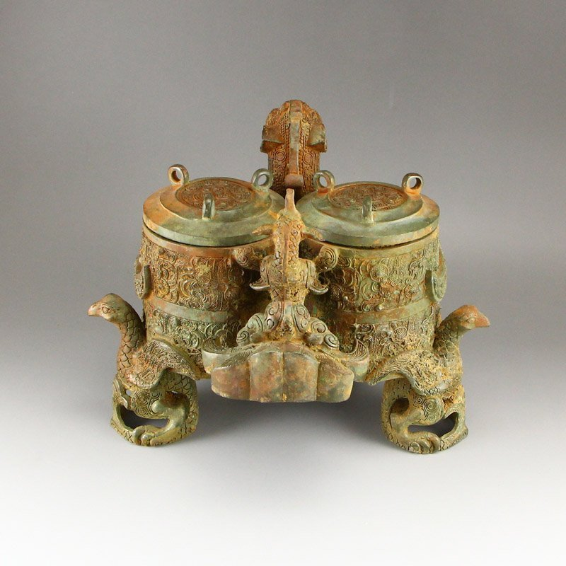 Vintage Chinese Bronze Phoenix Head Incense Burner - 3