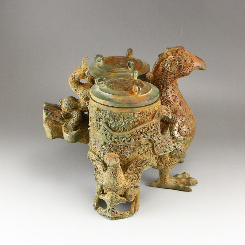 Vintage Chinese Bronze Phoenix Head Incense Burner - 4
