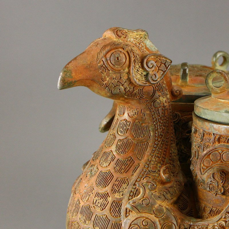 Vintage Chinese Bronze Phoenix Head Incense Burner - 8