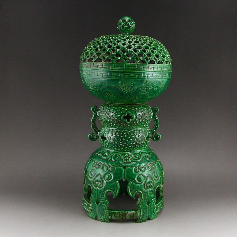 Chinese Qing Dy Green Glaze Porcelain Incense Burner
