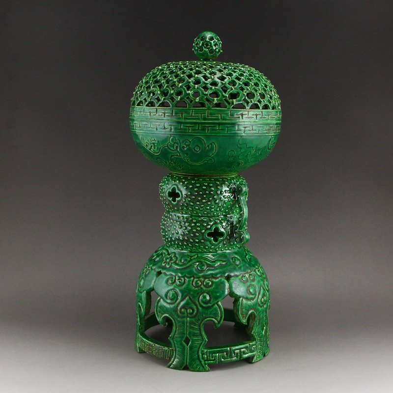 Chinese Qing Dy Green Glaze Porcelain Incense Burner - 2