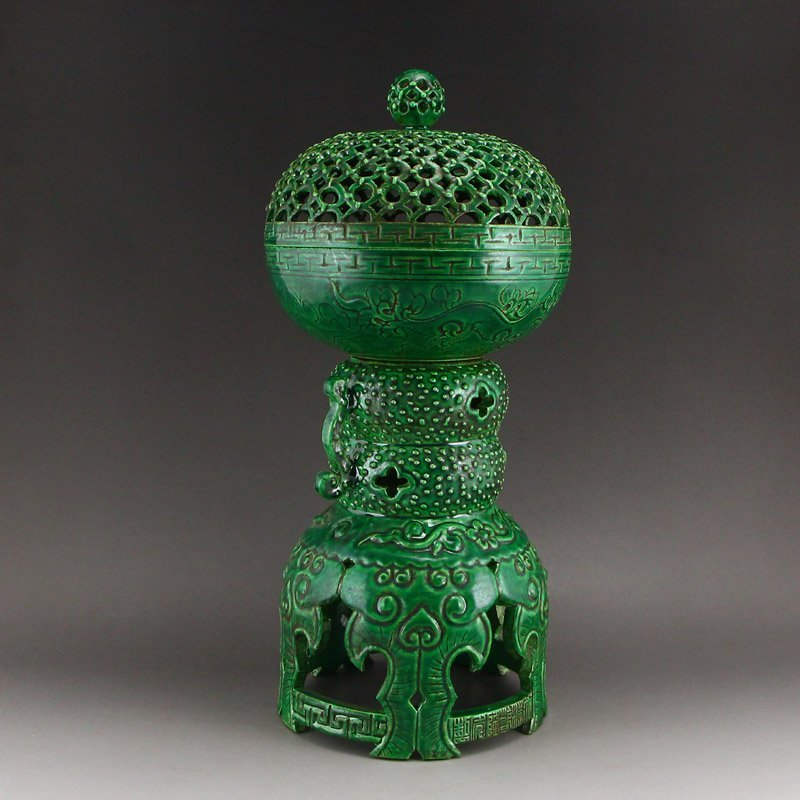 Chinese Qing Dy Green Glaze Porcelain Incense Burner - 3