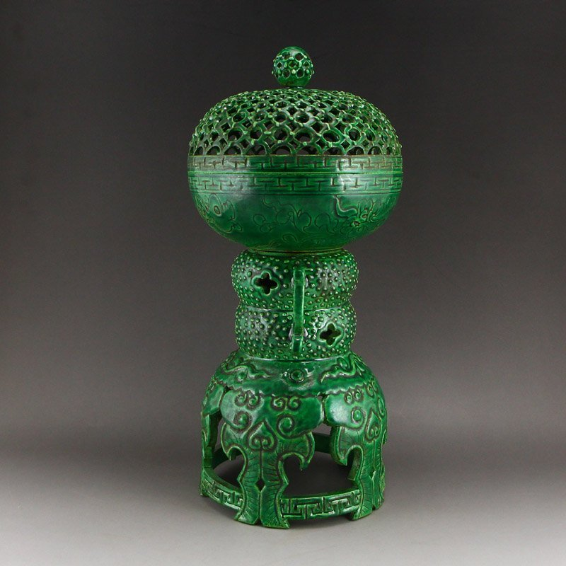 Chinese Qing Dy Green Glaze Porcelain Incense Burner - 4