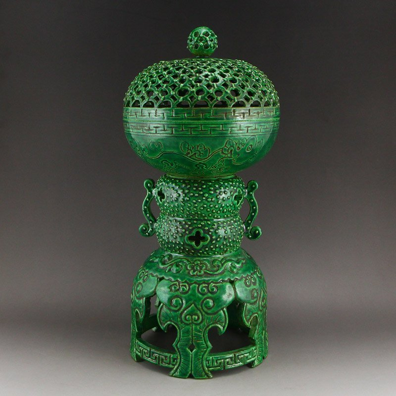Chinese Qing Dy Green Glaze Porcelain Incense Burner - 5