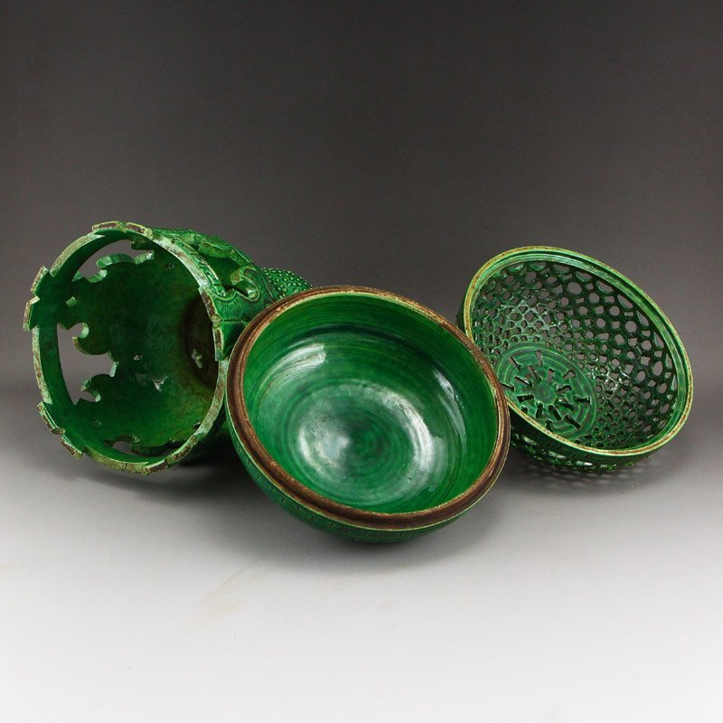 Chinese Qing Dy Green Glaze Porcelain Incense Burner - 7