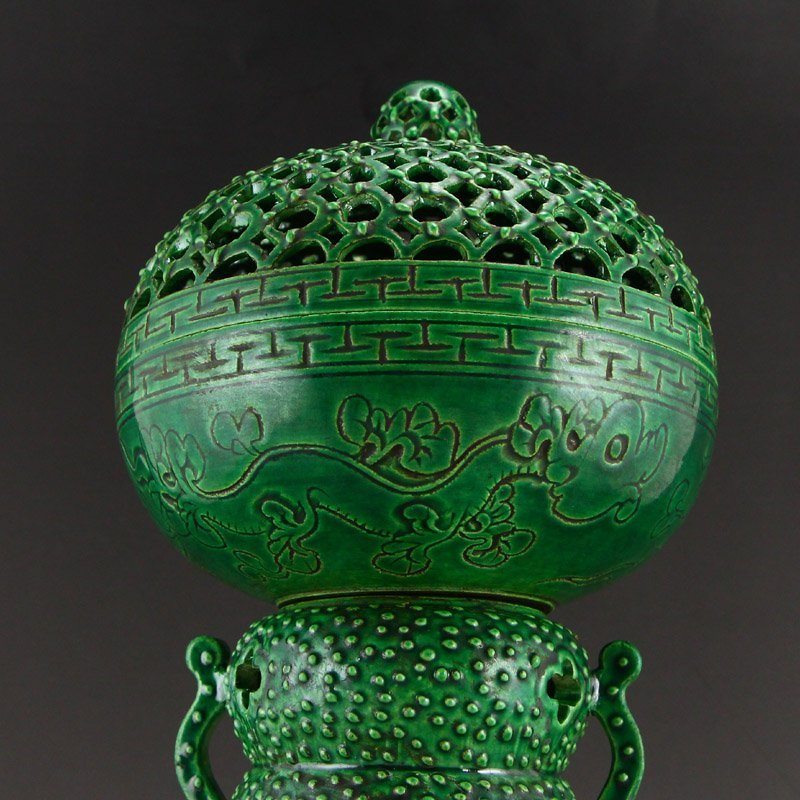 Chinese Qing Dy Green Glaze Porcelain Incense Burner - 8