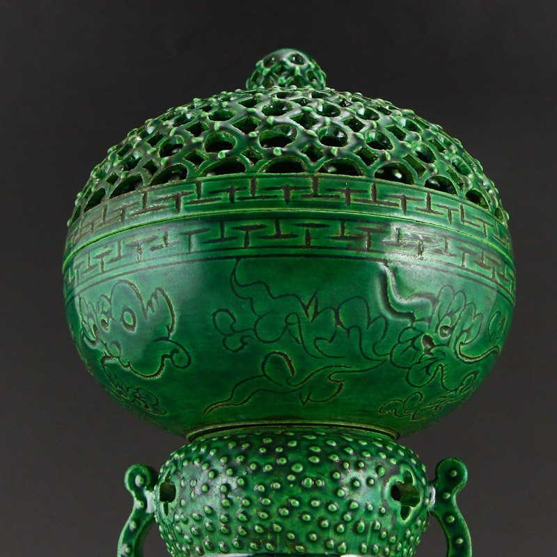 Chinese Qing Dy Green Glaze Porcelain Incense Burner - 9