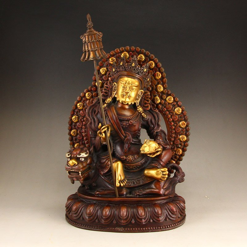Tibetan Gilt Gold Red Copper Yellow Jambhala Statue