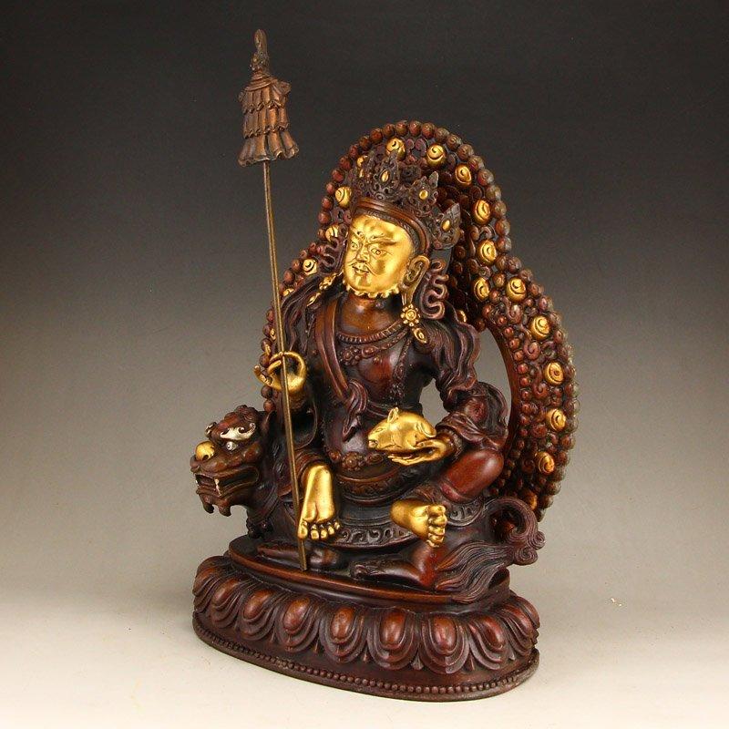 Tibetan Gilt Gold Red Copper Yellow Jambhala Statue - 2