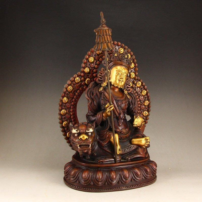 Tibetan Gilt Gold Red Copper Yellow Jambhala Statue - 3