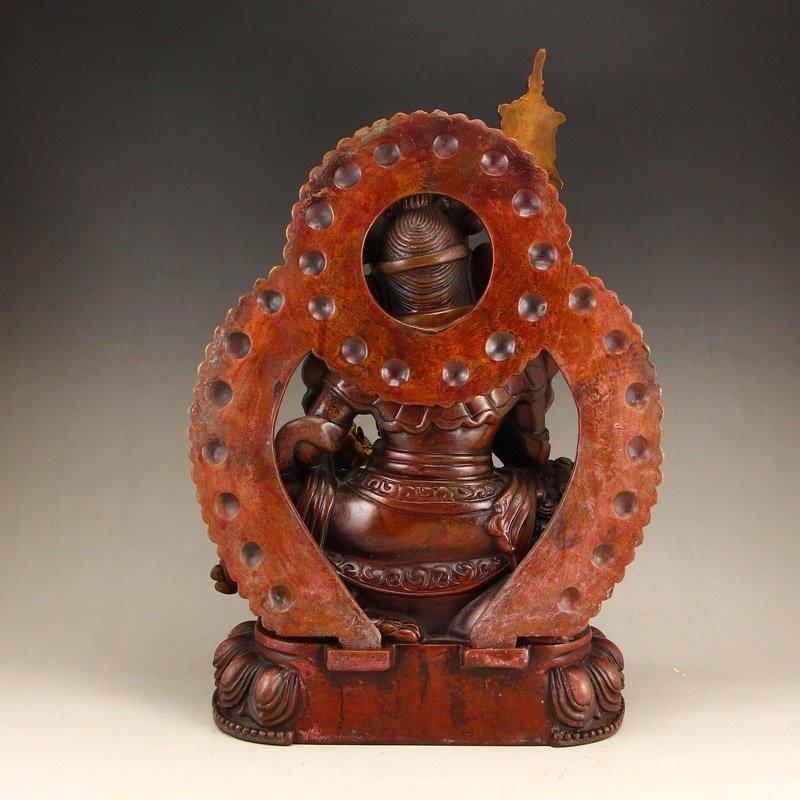 Tibetan Gilt Gold Red Copper Yellow Jambhala Statue - 4