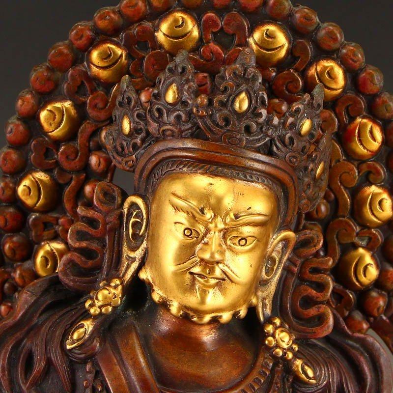 Tibetan Gilt Gold Red Copper Yellow Jambhala Statue - 6
