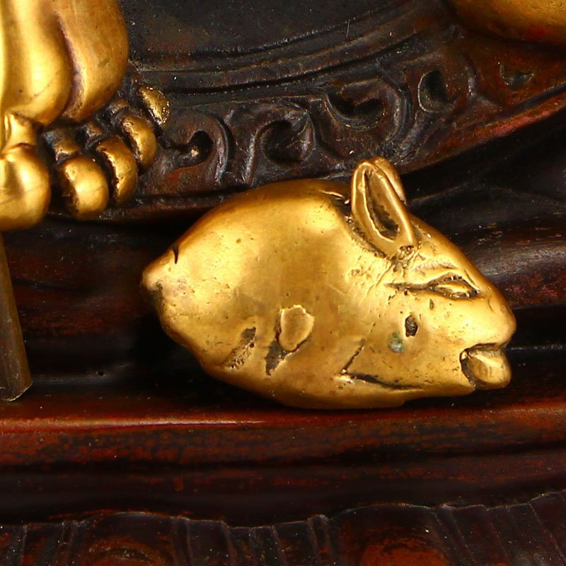 Tibetan Gilt Gold Red Copper Yellow Jambhala Statue - 7