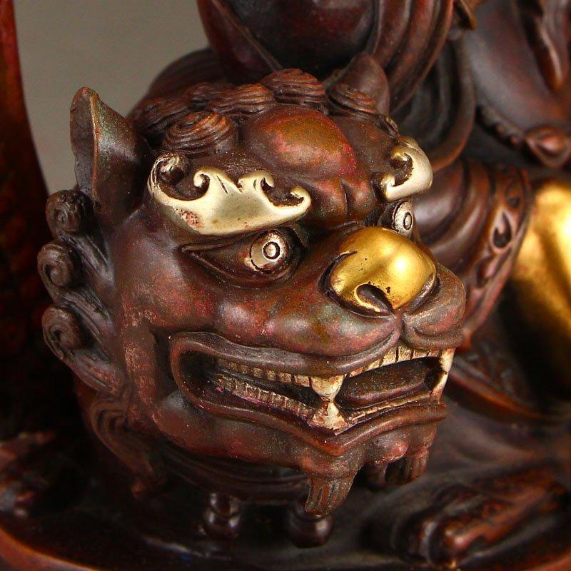 Tibetan Gilt Gold Red Copper Yellow Jambhala Statue - 8