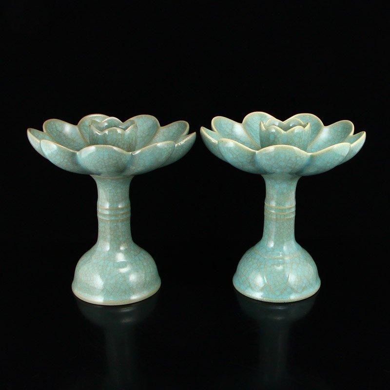 Song Dy Sky Blue Glaze Ru Kiln Porcelain Candlesticks - 2