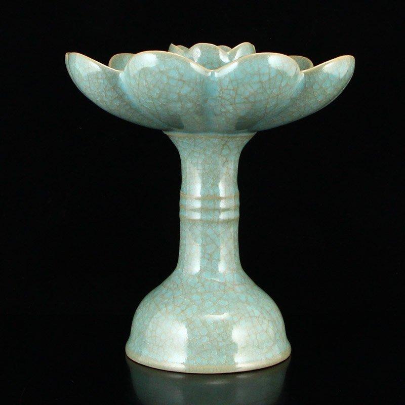 Song Dy Sky Blue Glaze Ru Kiln Porcelain Candlesticks - 6