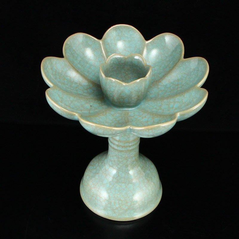 Song Dy Sky Blue Glaze Ru Kiln Porcelain Candlesticks - 7