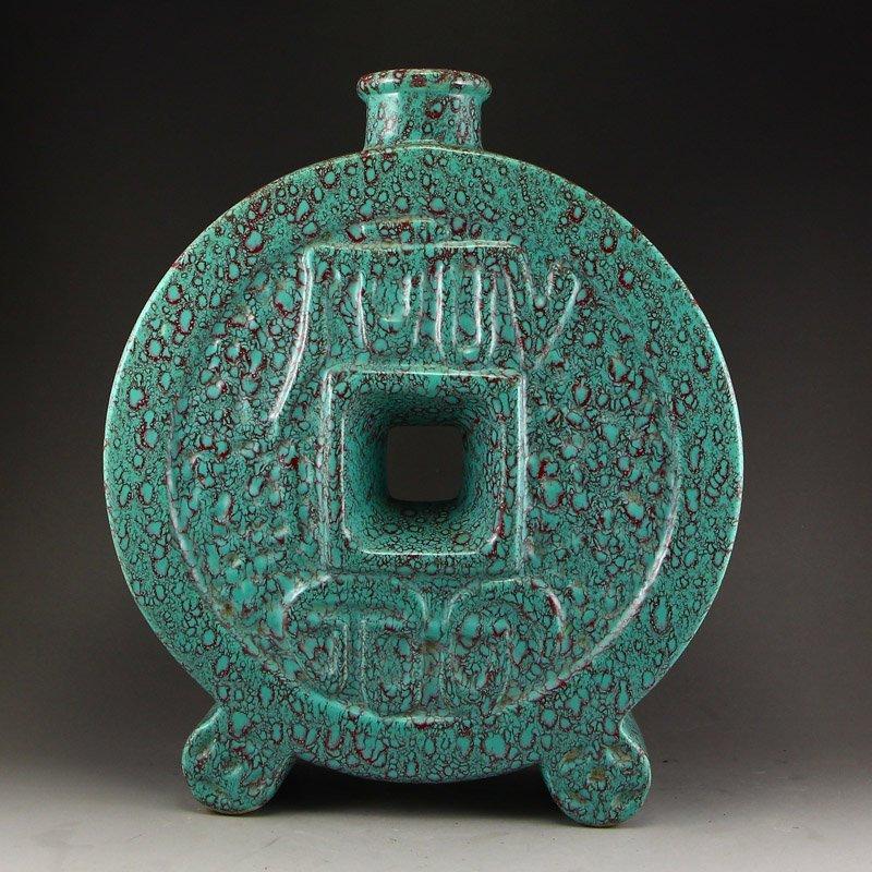 Chinese Turquoise Glaze Porcelain Vase - 4