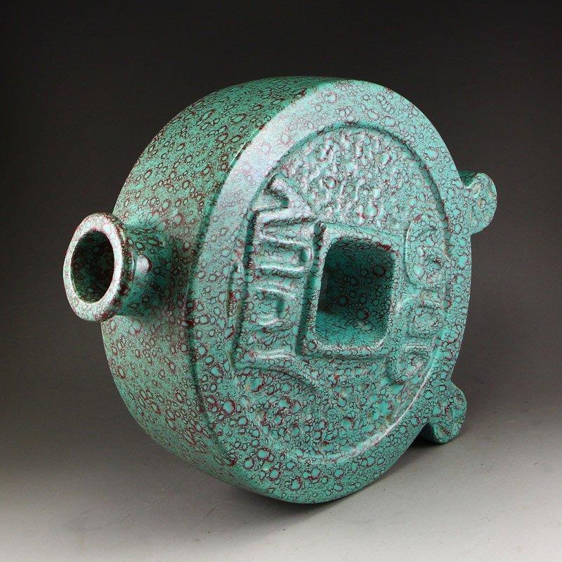 Chinese Turquoise Glaze Porcelain Vase - 5