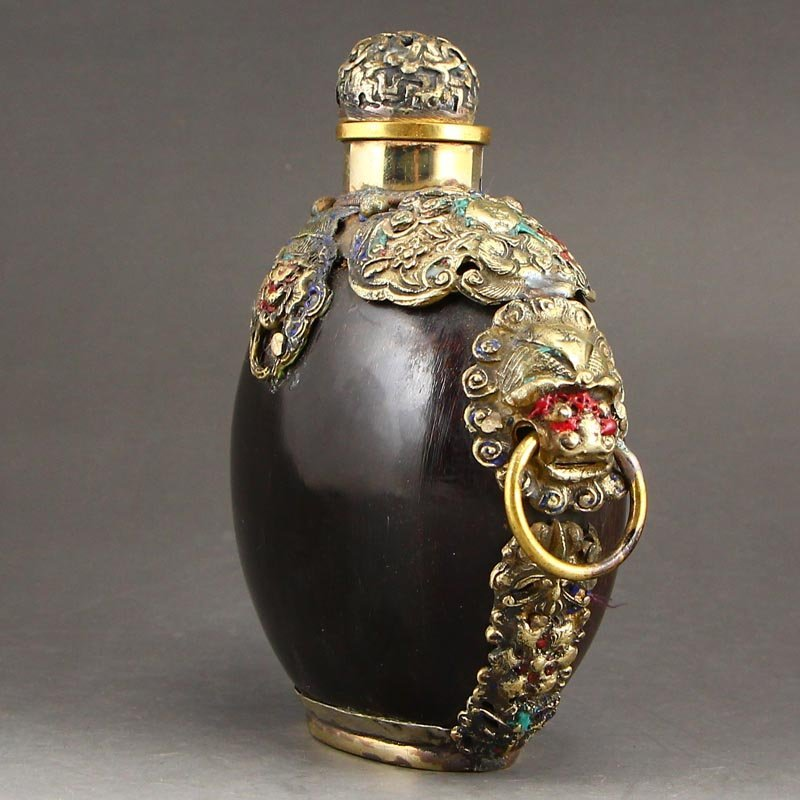 Chinese Brass Inlay Ox Horn Snuff Bottle - 3