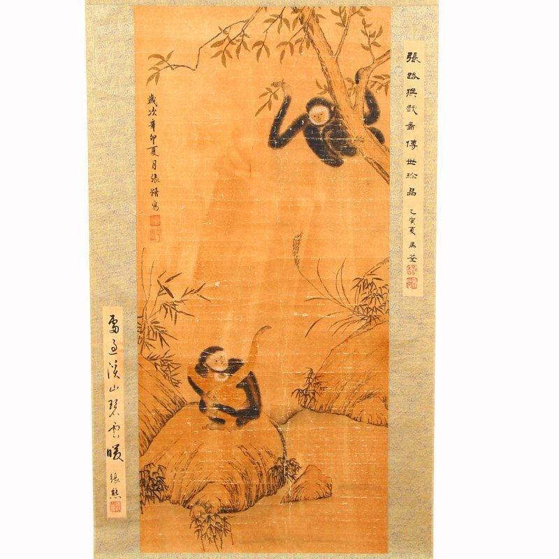 Chinese Ink on Xuan Paper Monkeys Painting - 2