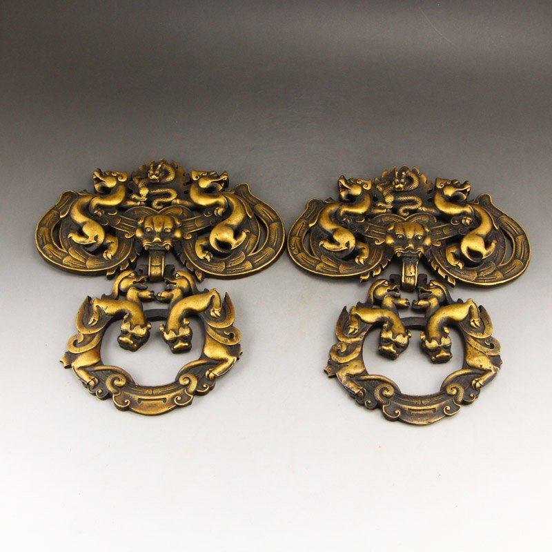 A Pair Vintage Chinese Brass Chi Dragons Door Knockers