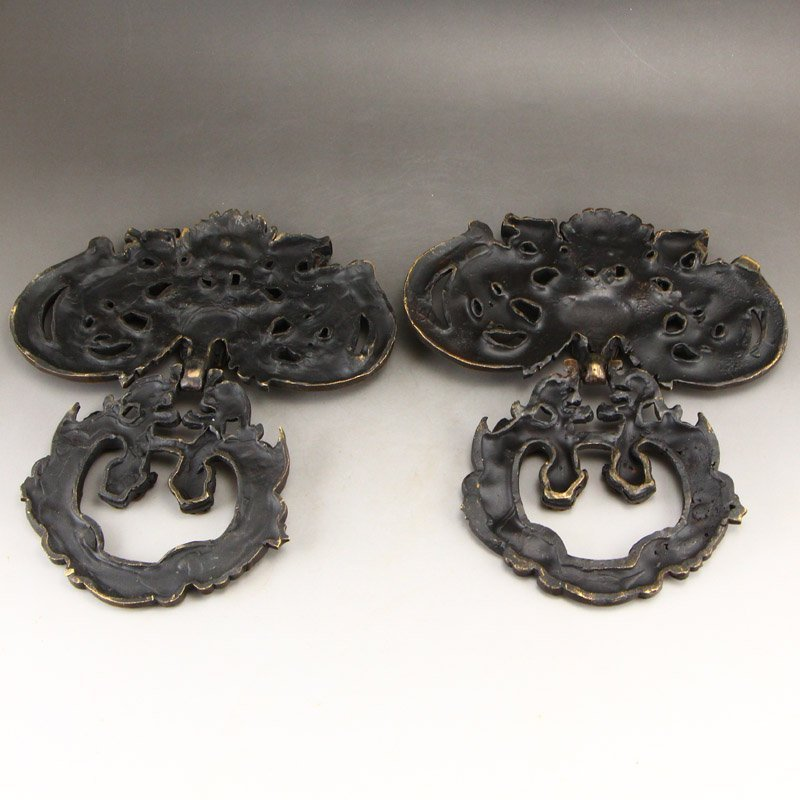 A Pair Vintage Chinese Brass Chi Dragons Door Knockers - 2