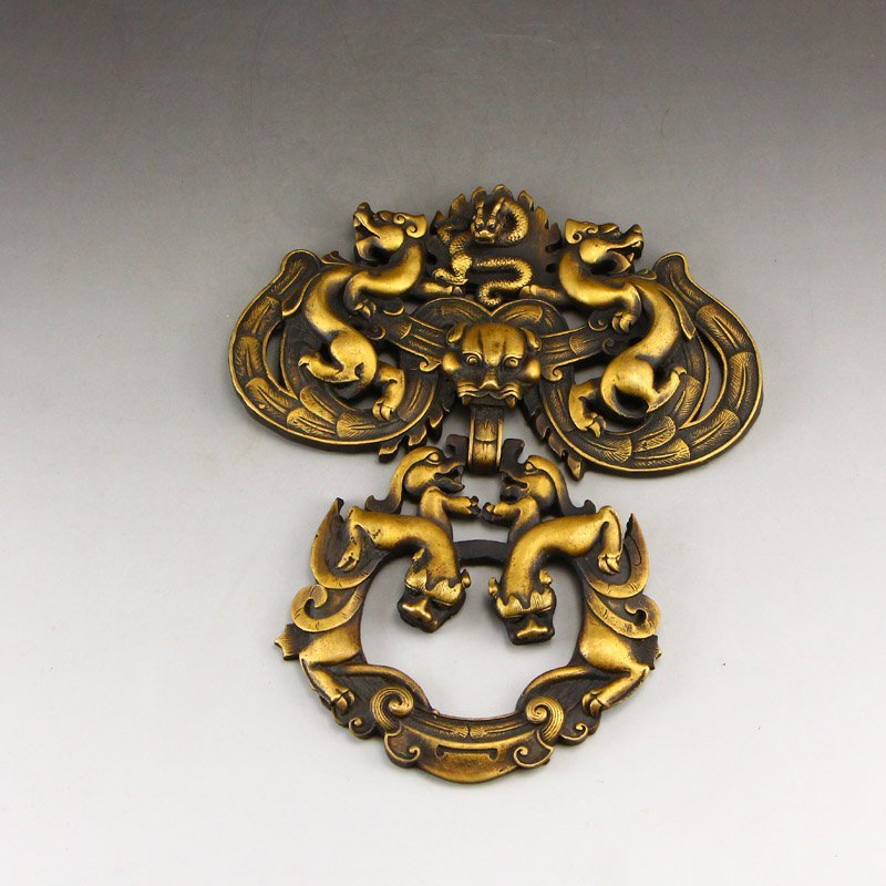 A Pair Vintage Chinese Brass Chi Dragons Door Knockers - 4