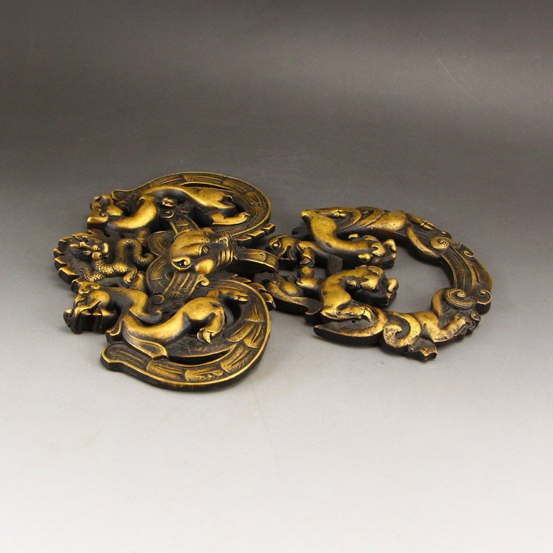 A Pair Vintage Chinese Brass Chi Dragons Door Knockers - 7