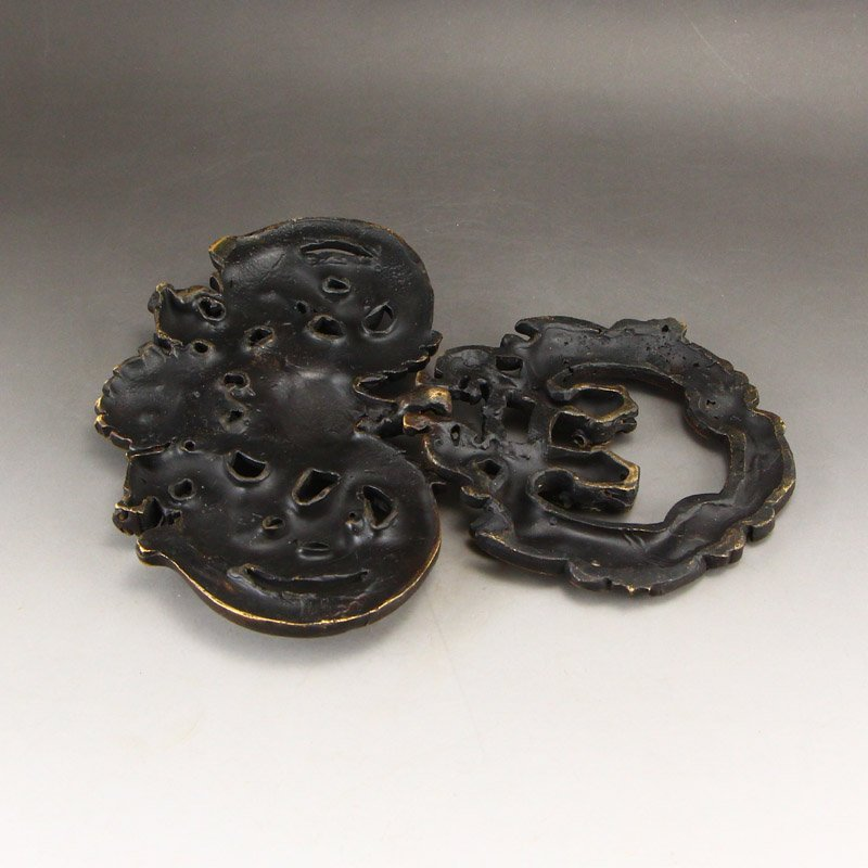 A Pair Vintage Chinese Brass Chi Dragons Door Knockers - 8