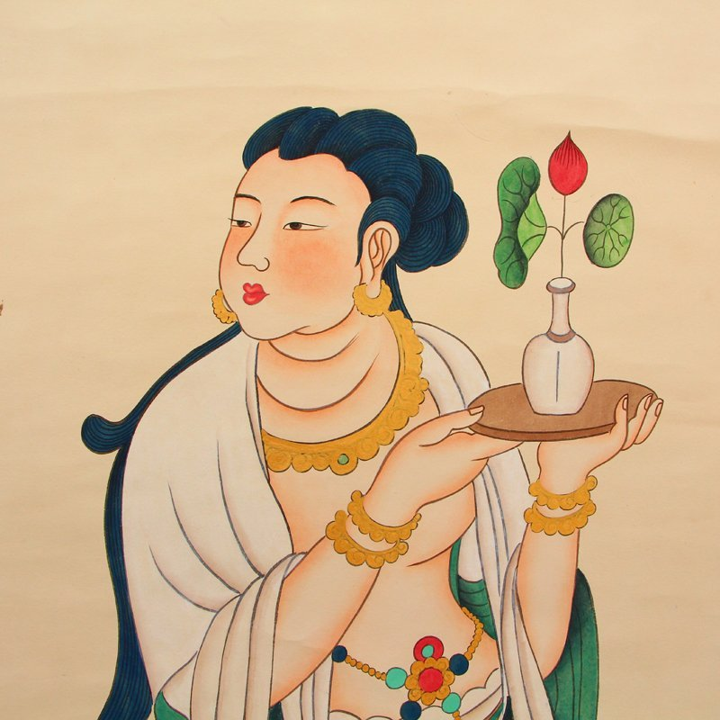 Chinese Watercolour on Xuan Paper Figure Painting - 4