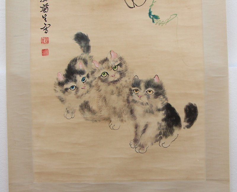 Chinese Watercolour on Xuan Paper Cats Painting - 4