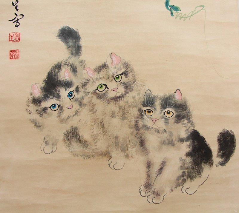 Chinese Watercolour on Xuan Paper Cats Painting - 8