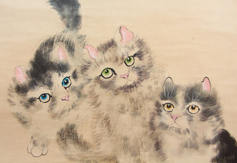 Chinese Watercolour on Xuan Paper Cats Painting - 9