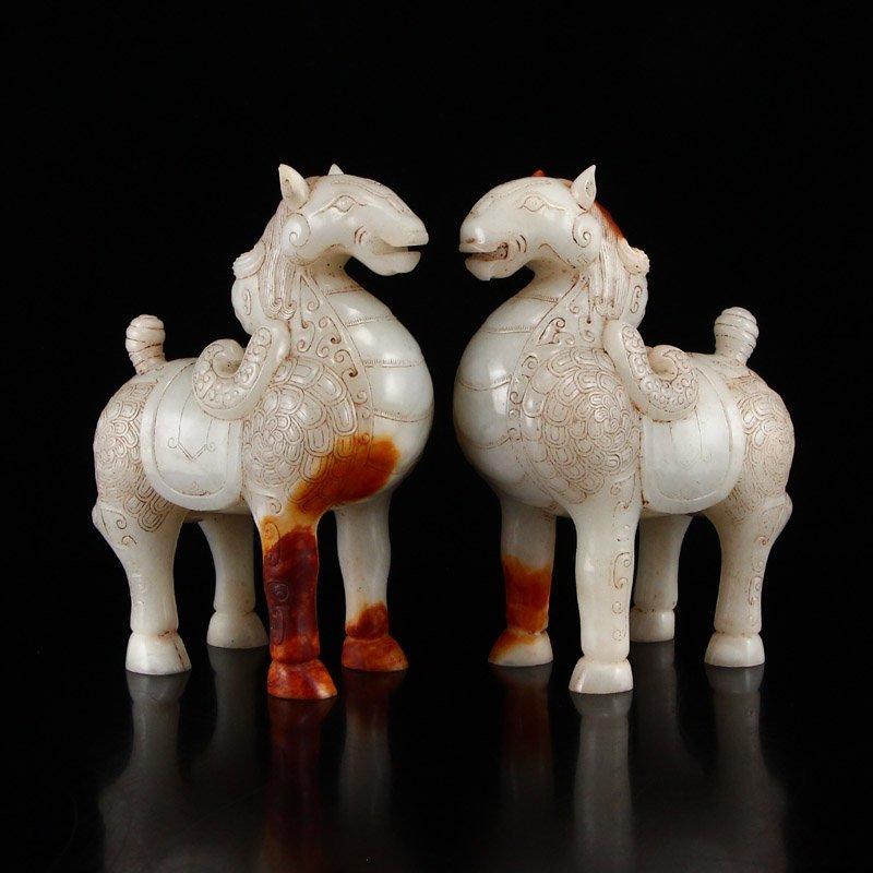 A Pair Vintage Chinese Hetian Jade Horse Statues - 2