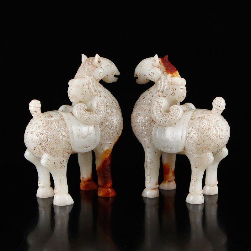 A Pair Vintage Chinese Hetian Jade Horse Statues - 3