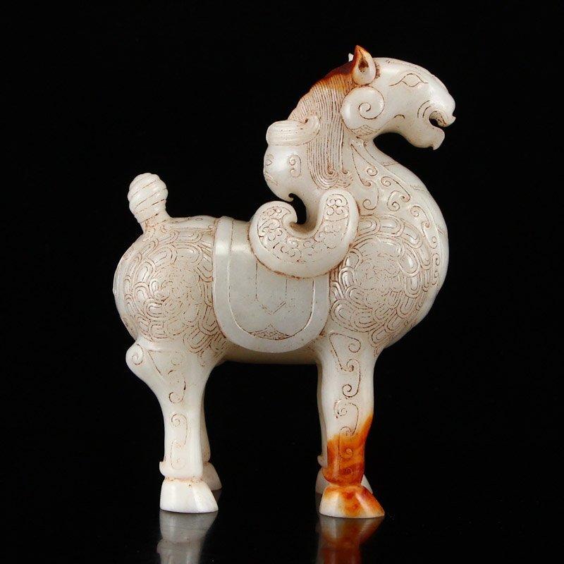 A Pair Vintage Chinese Hetian Jade Horse Statues - 6