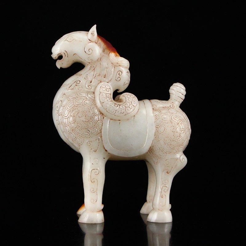 A Pair Vintage Chinese Hetian Jade Horse Statues - 7