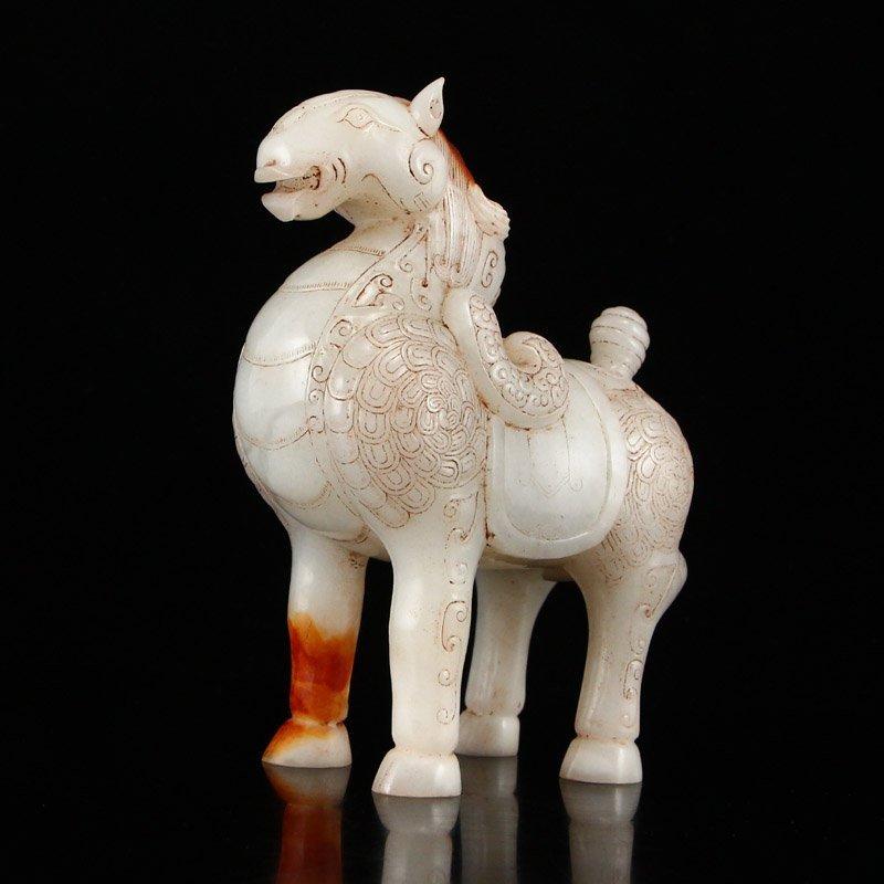 A Pair Vintage Chinese Hetian Jade Horse Statues - 8
