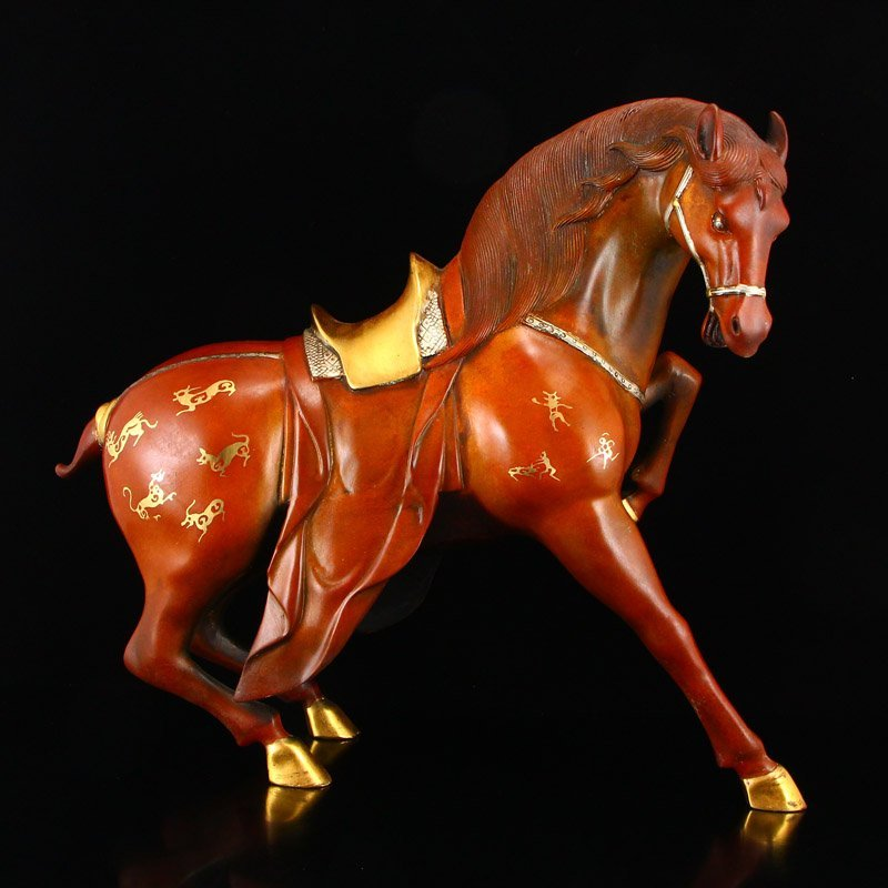 Chinese Gilt Gold-plated Silver Red Copper Horse Statue